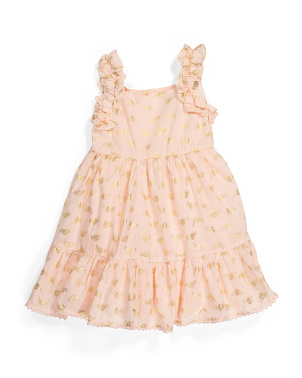 Toddler Girls Cinched Strap Tiered Dress