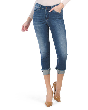 Juniors Mid Rise Cuffed Jeans