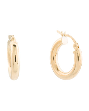 Made In Italy 14k Gold 15mm Polished Hoop Earrings
