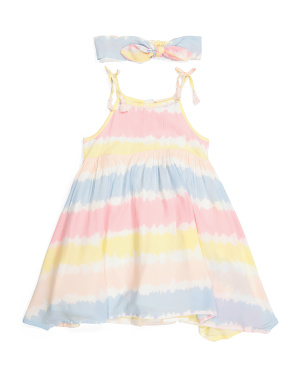 Toddler Girls Tie Dye Hanky Hem Dress With Headband