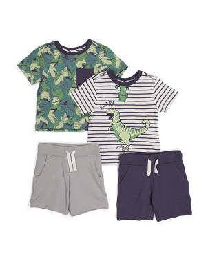 Infant Boys 4pk Dino Mix &  Match Tee & Shorts Set