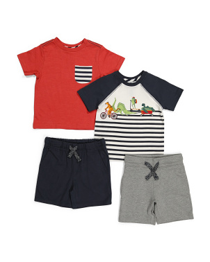Infant Boys 4pk Tiger Mix & Match Short Set
