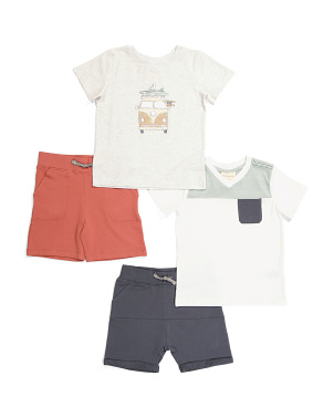 Infant Boys 4pk Bus Striped Mix & Match Short Set