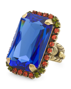 Luxurious Emerald Cut Swarovski Crystal Ring