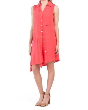 Sleeveless Button Front Collared Linen Dress