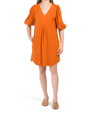 V-neck Puff Sleeve Linen Dress