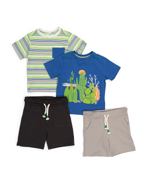 Infant Boys 4pk Cactus Mix & Match Tee & Shorts Set