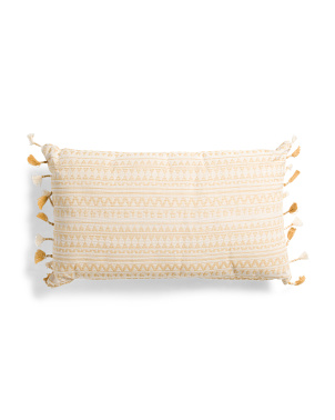 16x24 Embroidered Tassel Pillow
