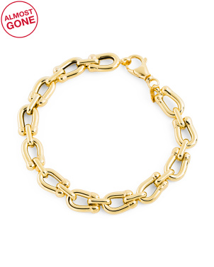 Made In Italy 14k Gold Horseshoe Link Chain Bracelet