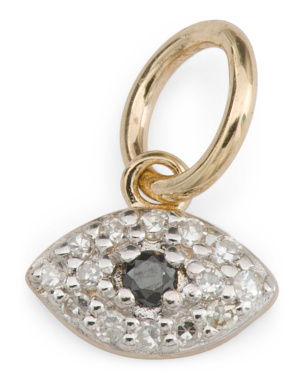 14k Gold And Diamond Evil Eye Charm