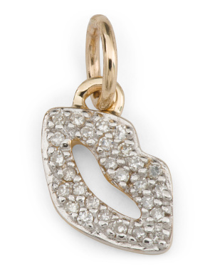 14k Gold And Diamond Lips Charm