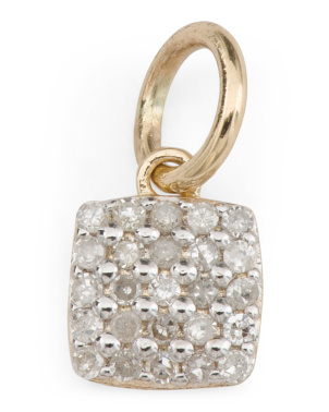 14k Gold And Diamond Pave Square Charm