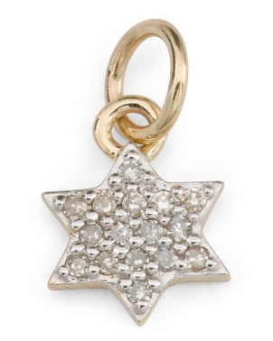 14k Gold And Diamond Star Of David Charm