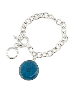 Sterling Silver And Enamel Charm Toggle Bracelet