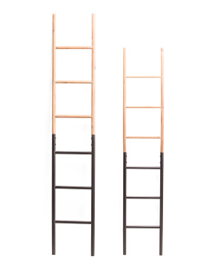 Set Of 2 Metal And Wood Decor Ladders
