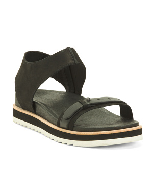 Leather Mid Zip Sandals