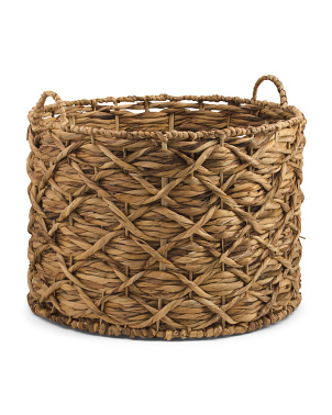 Large Water Hyacinth Round Twisted Weave Basket