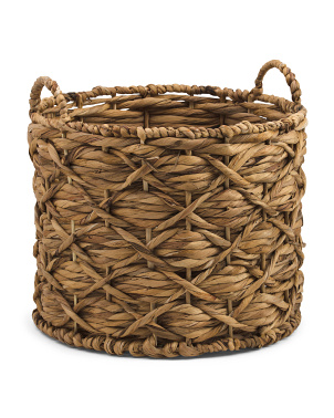 Small Water Hyacinth Round Twisted Weave Basket