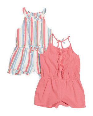 Toddler Girls 2pk Striped Romper Set