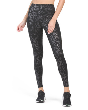 High Waist Snake Embossed Vinyasa Ankle Leggings