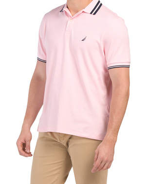 Short Sleeve Interlock Polo With Contrast Tipping
