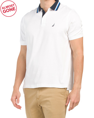 Short Sleeve Interlock Polo With Tipping