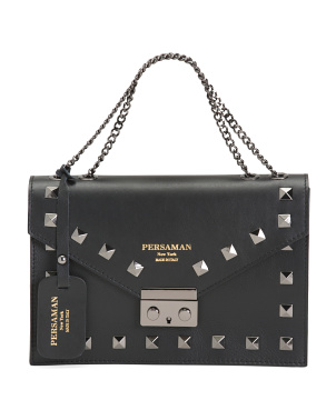 Made In Italy Leather Studded Shoulder Bag