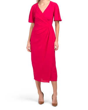 Surplice Flutter Sleeve Midi Dress
