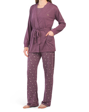 3pc Cami Robe Pant Sleep Set