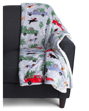 Holiday Trucks And Dogs Sherpa Throw