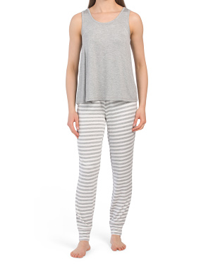 Camisole And Striped Jogger Pj Set