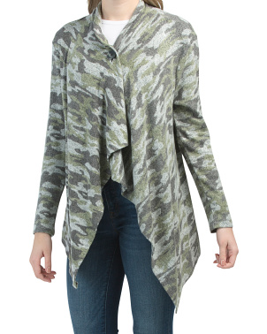 Camo One Button Cardigan
