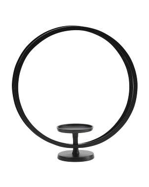 18in Round Deco Pillar Candle Holder