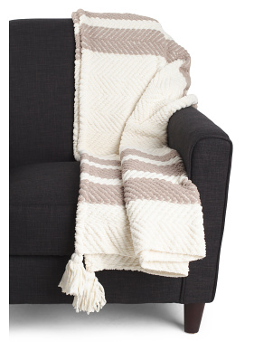 Abode Border Stripe Throw With Tassels
