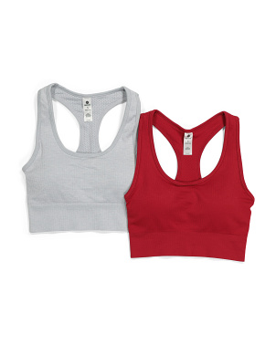 2pk Ribbed Seamless Bra Tops