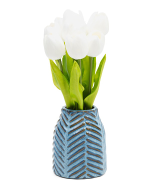14.5in Tulips In Ceramic Pot