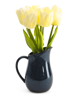 15.5in Tulips In Ceramic Pitcher