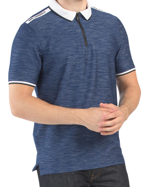 Melange Polo With Logo Taping