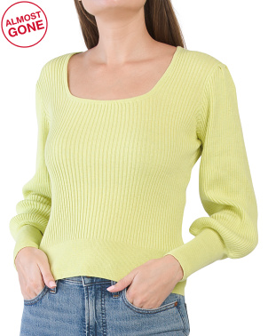 Square Neck Fitted Sweater