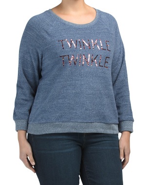 Plus Twinkle Embroidered Cozy Fleece Top