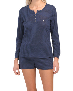 Long Sleeve Henley With Shorts Pj Set
