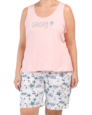 Plus Vacay Tank & Bermuda Shorts Set
