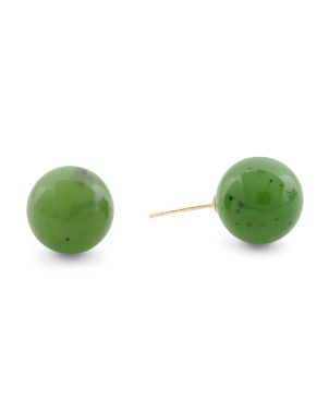 Made In Usa 14k Gold 10mm Jade Ball Stud Earrings