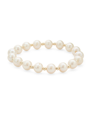 Made In Usa 14k Gold And Pearl Stretch Bracelet