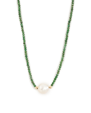 Made In Usa 14k Gold Emerald And Baroque Pearl Necklace