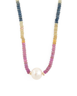 Made In Usa 14k Gold Multicolor Corundum And Pearl Necklace