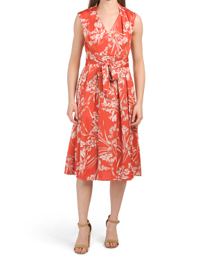 Floral Twill Fit And Flare Dress