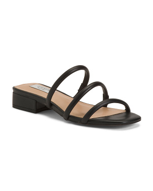 Leather Strappy Slide Sandals