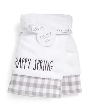 Set Of 2 Happy Spring Gingham Hand Towels