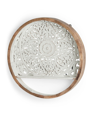 23in Round Carved Wood Wall Shelf
